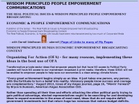 WISDOM PRINCIPLED PEOPLE EMPOWERMENT COMMUNICATIONS - THE REAL POLITICAL ISSUES and WISDOM BASED PEOPLE EMPOWERMENT BROADCASTING COMMUNICATIONS