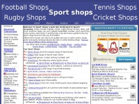 Sport Shops - football, cricket, rugby, fishing, hockey