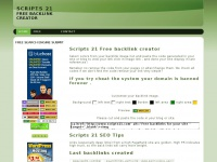 Scripts 21 free backlink creator , create free backlinks  from your site/blog  Scripts 21