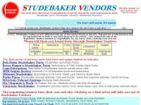 Studebaker Vendors Web Site Parts Directory
